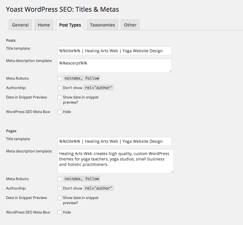 My posts and pages SEO settings